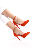 Red suede highheels Royalty Free Stock Photos