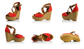 Red suede woman shoes composition Stock Photo