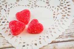 Red sugar heart candy royalty free stock photography