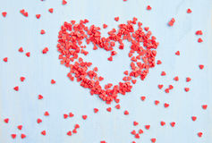 Red sugar hearts Stock Photo