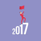 Red Suit Businessman 2017 concept. Businessman in red suit. Flat style business new year 2017 concept vector illustration Stock Images