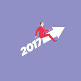 Red Suit Businessman 2017 concept. Businessman in red suit. Flat style business new year 2017 concept vector illustration Stock Image