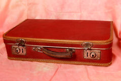 Red suitcase. Old red suitcase with lock Royalty Free Stock Image
