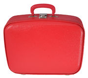 Red Suitcase. Vintage Red Travel Case - frontal view royalty free stock photography