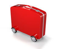 Red Suitcase with Car Tire Royalty Free Stock Image