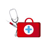 Red suitcase health with stethoscope and syringe Stock Photo