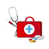 Red suitcase health with stethoscope, syringe and treatment. Illustraction Stock Photos