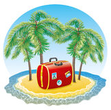 Red suitcase on the tropical island. Stock Photos