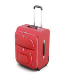 Red suitcase on wheels isolated on white background. 3d render Stock Image
