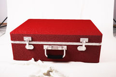 Red suitcase on the white canvas. 3d illustration Stock Photography