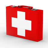 Red suitcase with white cross Royalty Free Stock Images