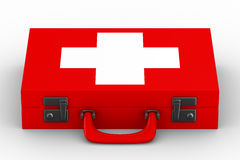 Red suitcase with white cross Stock Photography