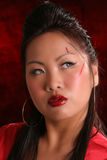 Red sultry asian look right Royalty Free Stock Photo