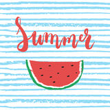 Red Summer brush hand painted lettering phrase isolated on the blue striped background with colorful sketch watermelon Royalty Free Stock Images