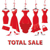 Red summer dresses and accessories set.Sale Stock Images