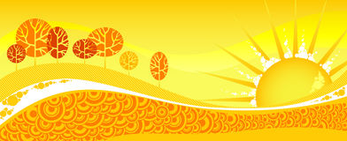 Red summer forest on yellow sunset. Summer gorizontal banner. Red summer forest on yellow sunset Stock Photography