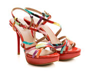 Red summer shoes on white background Stock Photography