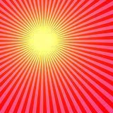 Red Sun. Abstract, Rays Shine From A Bright Center, Illustration Background Vector Illustration