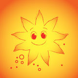 Red sun. Sun with funy face on the orange background Royalty Free Stock Photo