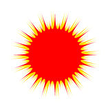 Red sun. On white background - vector illustration Royalty Free Stock Image