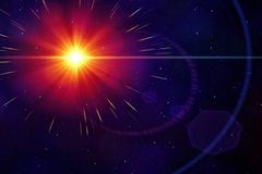 red sun in the deep space Royalty Free Stock Photo