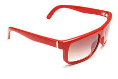 Red sun glasses. Photo of red sun glasses on white background stock photo