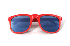 Red sun glasses. Isolated over the white background stock photo