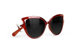 Red sun glasses isolated over the white background.  Stock Photo