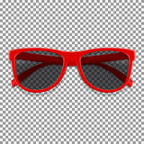 Red sun glasses  on transparent backdrop Stock Photos