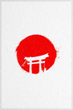 Red Sun Japan Flag. Japan Flag Poster. A red sun painted on a textured background vector illustration