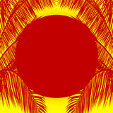 Red sun and palm tree silhouette over yellow background Royalty Free Stock Photo