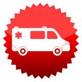 Red sun sign ambulance car Royalty Free Stock Photo
