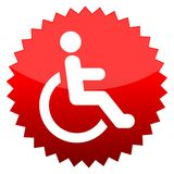 Red sun sign Disabled icon sign Accessibility Stock Photos
