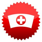 Red sun sign nurse cap Royalty Free Stock Photo