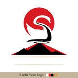 Red sun white swan Royalty Free Stock Images