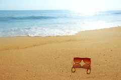 Red sunglasses on the beach Stock Photo