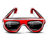 Red sunglasses icon  on white Stock Image