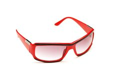 Red sunglasses isolated. On the white background Royalty Free Stock Photo