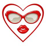 Red sunglasses and lips. Stock Photo