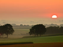 Red sunrise. Over rural countryside Stock Photography