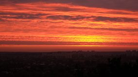 The red sunrise above the city of Kharkiv. The red sunrise sky above the city of Kharkiv Royalty Free Stock Photography
