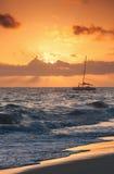 Red sunrise. Atlantic ocean. Dominican republic Stock Images