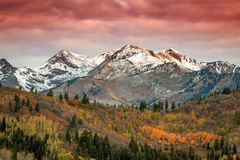 Red sunrise and fall color. Royalty Free Stock Photo