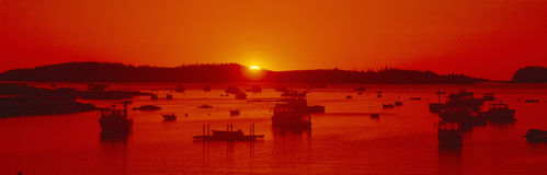 Red sunrise at Lobster Village royalty free stock photography