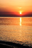 Red sunrise at Mediterranean Sea Royalty Free Stock Photography