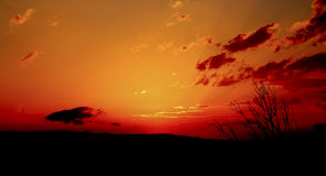Red Sunset. Sunset with the sky burning in red and orange colors Royalty Free Stock Images