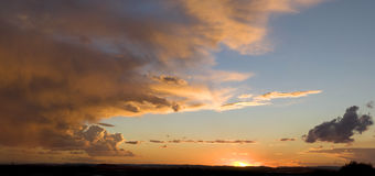 Red sunset. Big pano of Red sunset in Africa Stock Photo