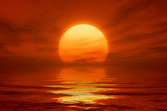 Red sunset. An image of a nice red sunset with a big yellow su Royalty Free Stock Images
