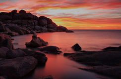 Red sunset. Sunset over the Atlantic oscean, Cape Town South Africa Royalty Free Stock Photo