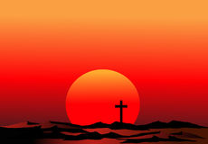 Red sunset. Sun and cross Royalty Free Stock Photo